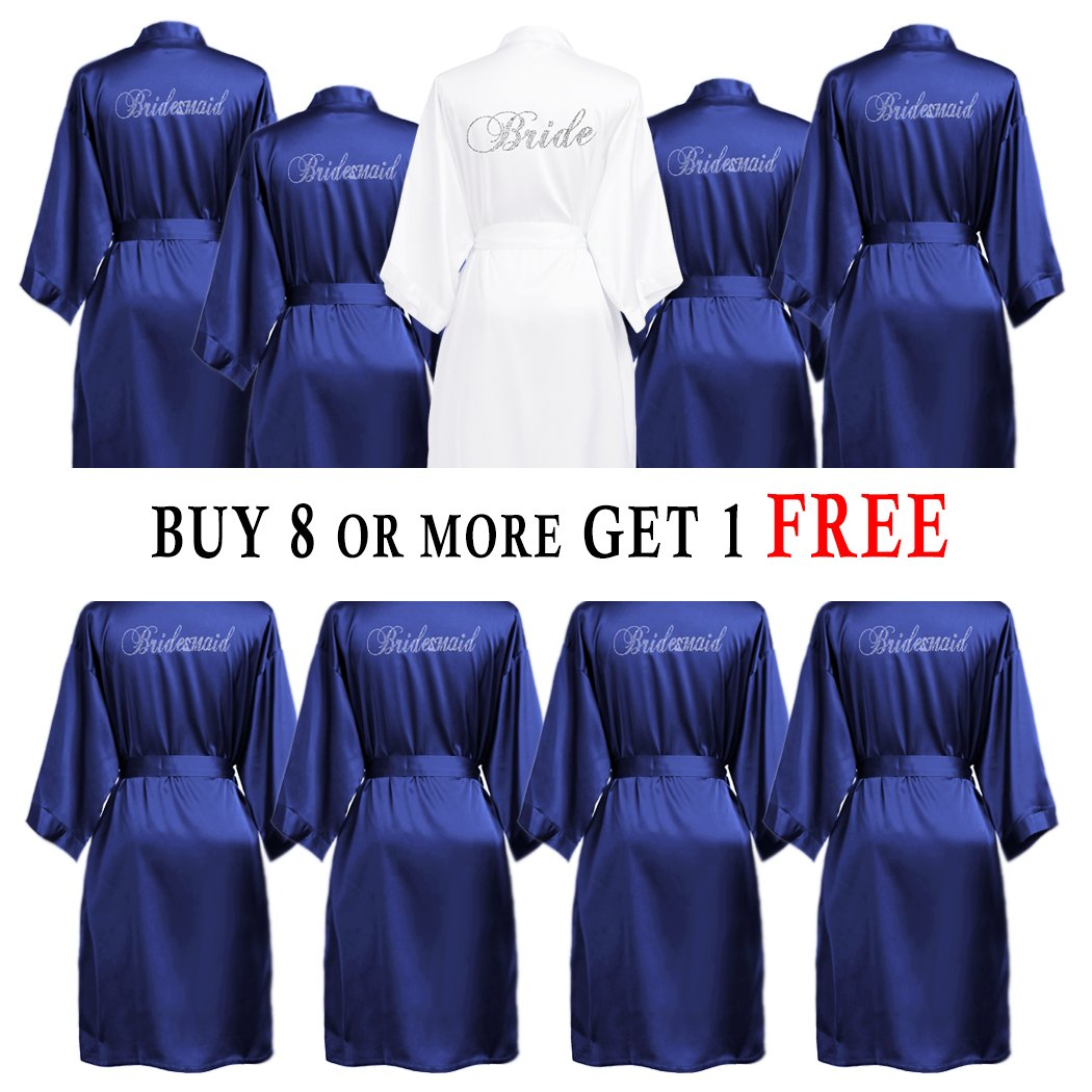 PROGULOVER Set Of Bridesmaid Robes Buy 8 Get 1 Free Rhinestone With Crystals Bridesmaid Gift Personalized Bridesmaid Satin Bride Robes Shower by PROGULOVER (Image #1)