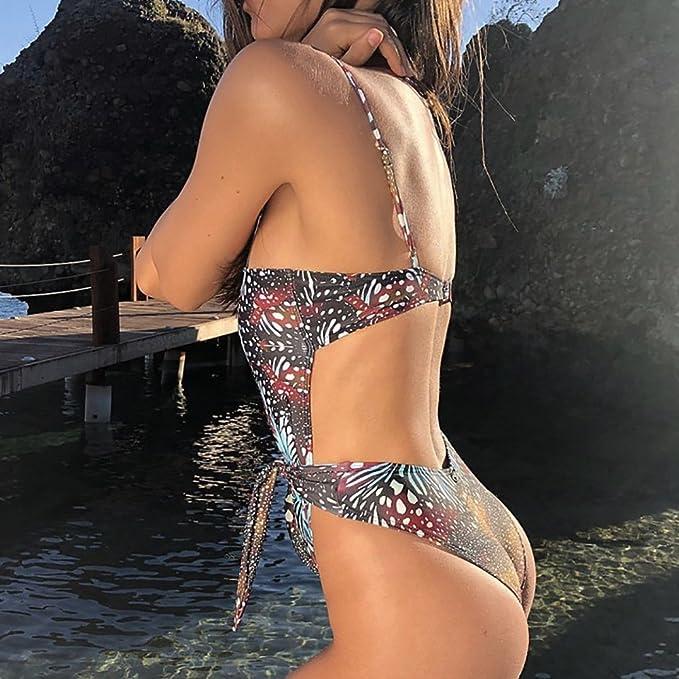 Bikini con Diseño Cruzado de Cuello Halter y Estampado Floral+2 PCS Traje de Baño 2018 Verano: Amazon.es: Electrónica