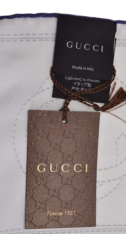 Gucci Women's 352213 Silk Cream Blue Interlocking GG Twill Neck Scarf by Gucci (Image #7)