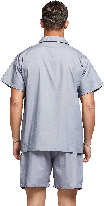 TONY AND CANDICE Mens Cotton Pajamas Short Sleeve Pajama Set Woven Sleepwear Loungewear Nightwear