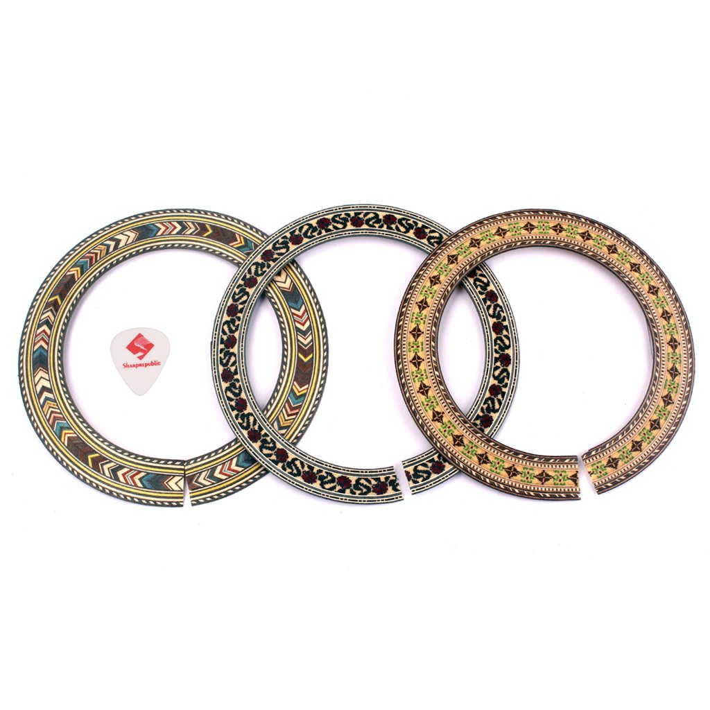 MonkeyJack 3Pcs Wooden Acoustic Classical Guitar Soundhole Rosette Inlaid DIY Luthier Supply Tools
