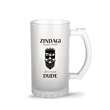 fdeb7e5ea Buy iKraft Funny and Cool Zindagi Rude Fir Bhi Hum Dude Quote Printed Frosted  Beer Mug for Friends Brother Boyfriend Online at Low Prices in India -  Amazon. ...