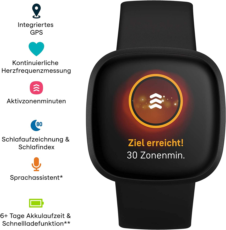Fitbit Versa 3 Sprachassistent und bis zu 6+ Tage Akku kontinuierlicher Herzfrequenzmessung Gesundheits- /& Fitness-Smartwatch mit GPS