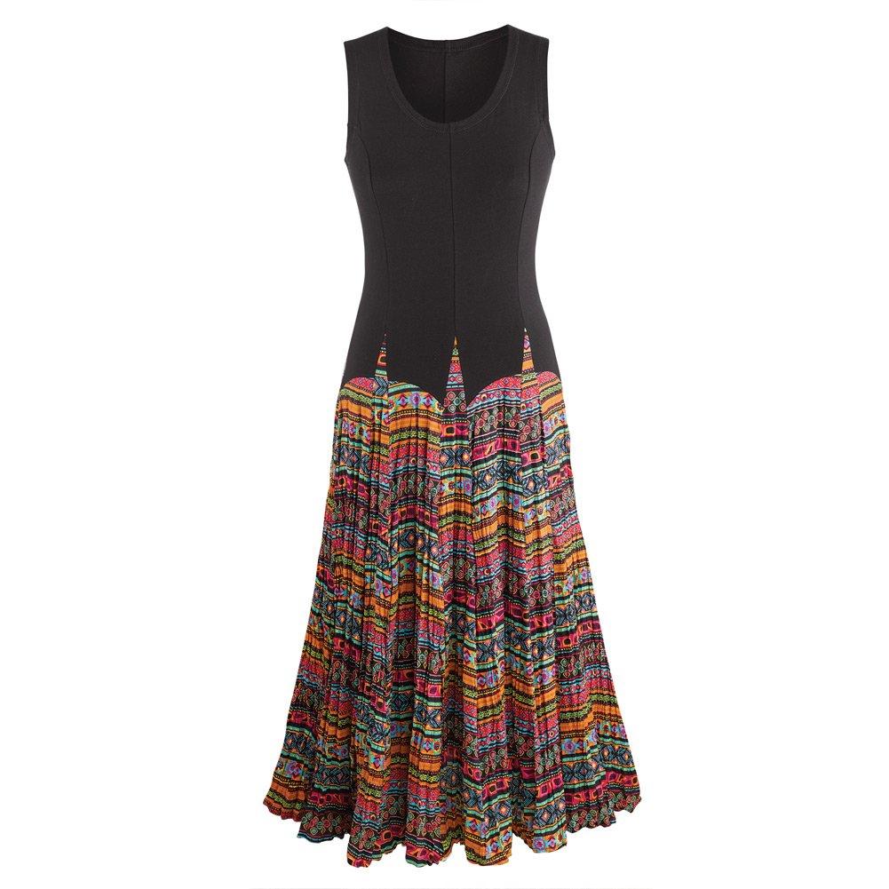 828195ec113 CATALOG CLASSICS Women s Mixed Fabrics Maxi Dress - Black Sleeveless Top  Patterned Skirt at Amazon Women s Clothing store