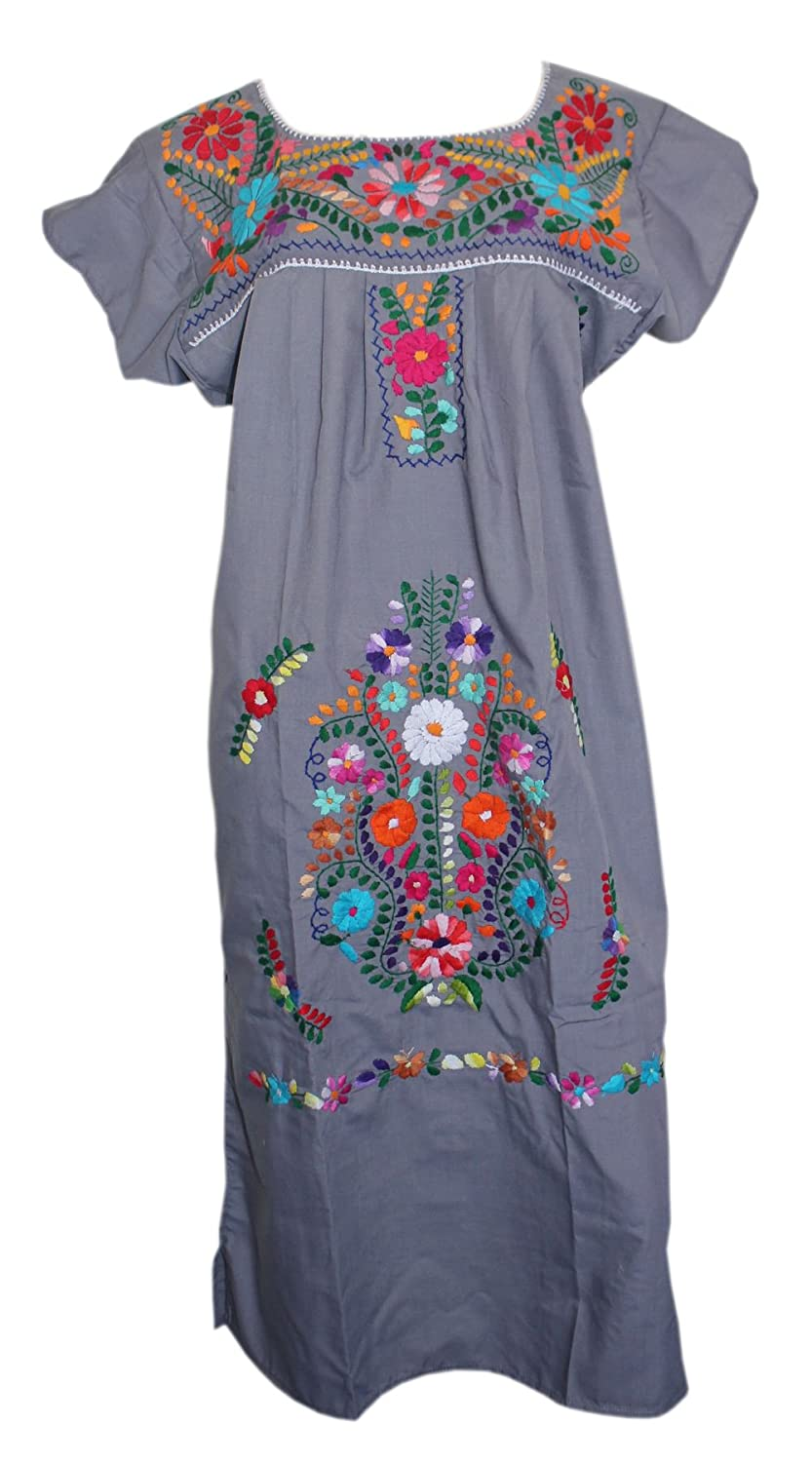Gray Embroidered Mexican Peasant Hippie Boho Dress by Lily Cruz