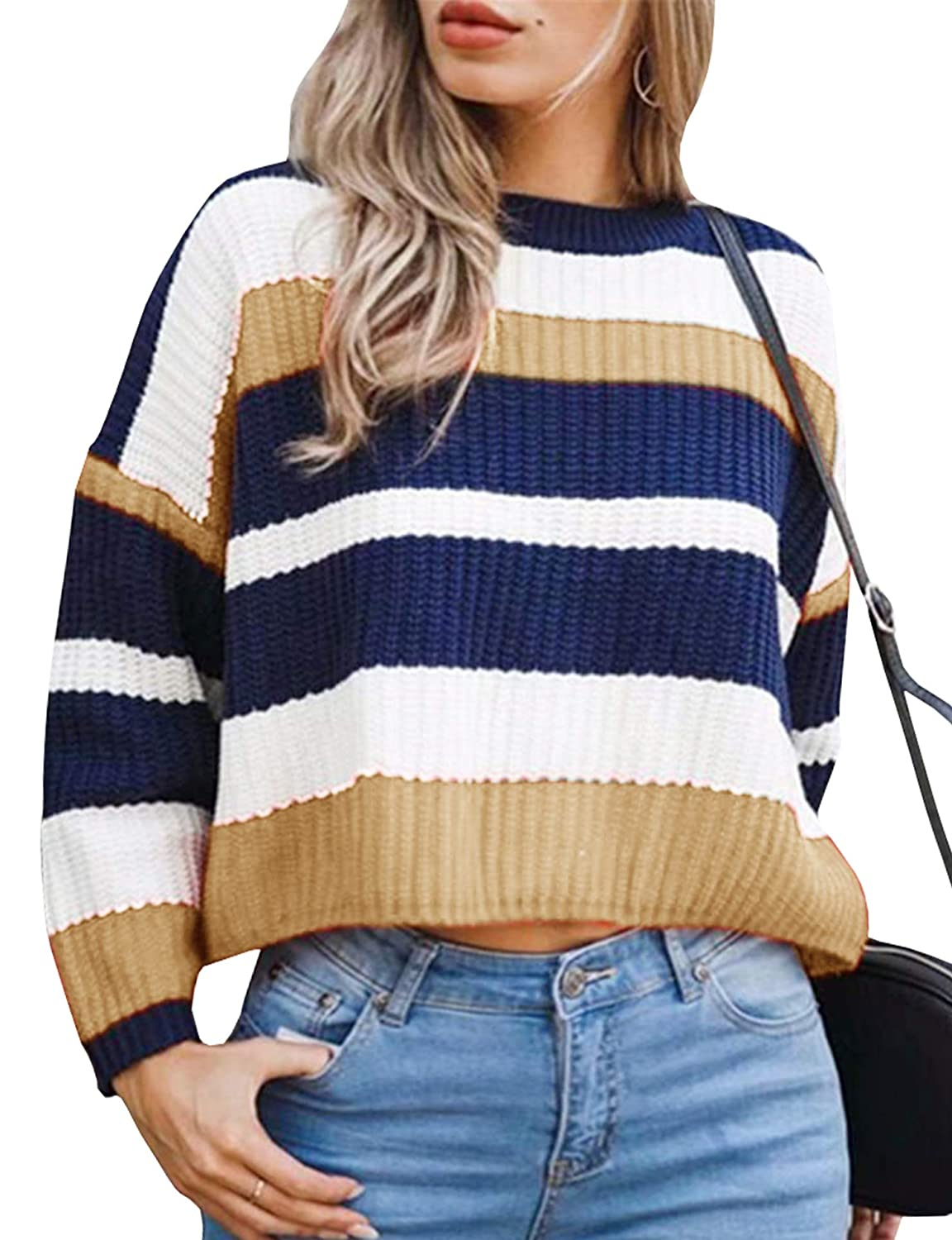 Women Fall Casual Drop Long Sleeve Striped Leisure Fit Oversized Sweaters f74709a97