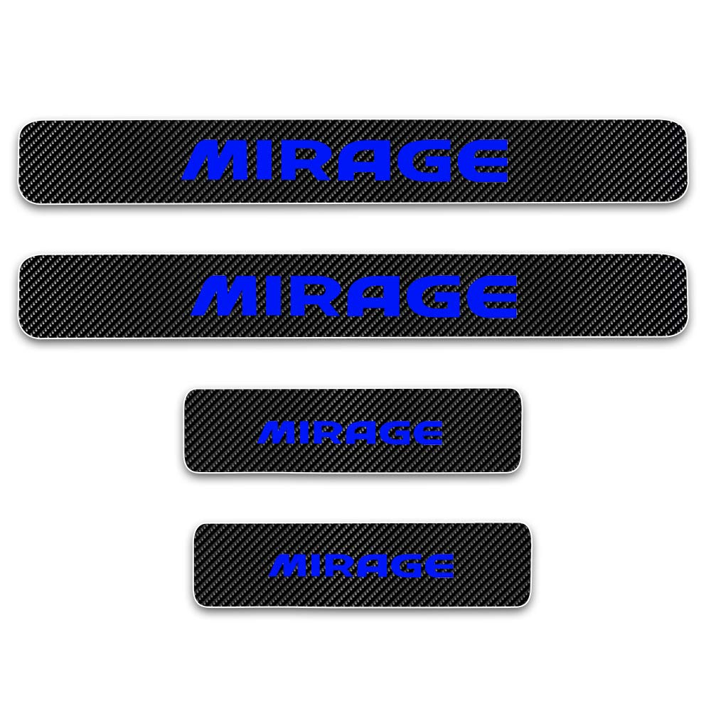 for Mitsubishi Mirage Door Sill Protector Reflective 4D Carbon Fiber Sticker Door Entry Guard Door Sill Scuff Plate Stickers Auto Accessories 4Pcs White