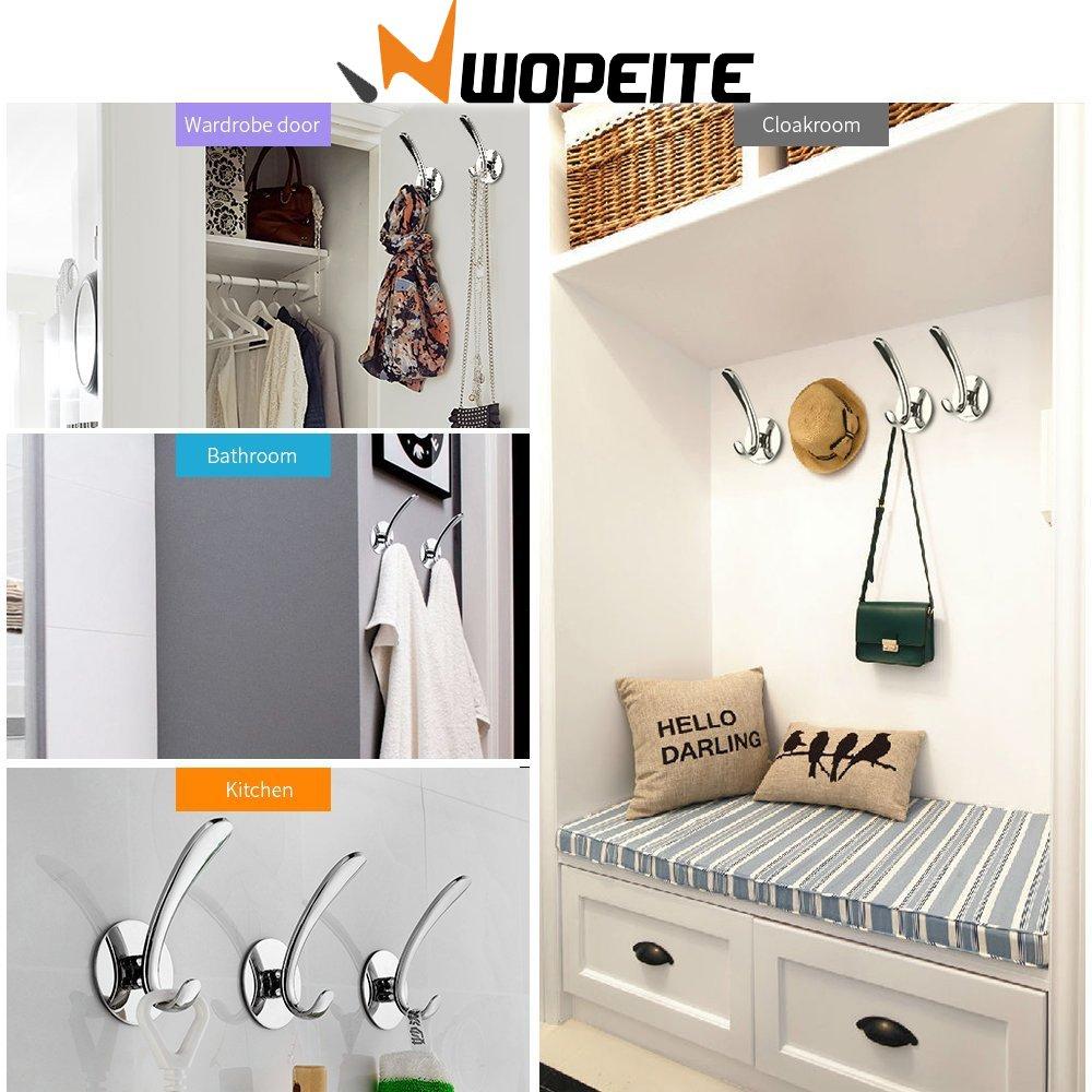 Wopeite Percha adhesiva para toallas y albornoces, Acero inoxidable, Instalación sin taladro, Organizador para baño y cocina, Toallero de gancho para ...