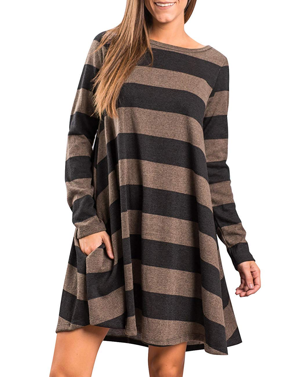 Roolan Women's Crew Neck Long Sleeve Casual Swing Tunic Shirt Dresses Loose Striped Midi Dresses with Pockets