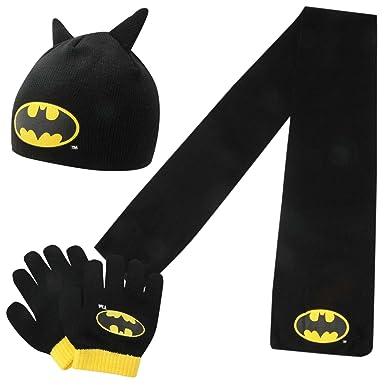 e8859d6d0f6 DC Comics Batman Kids Childrens Boys 3 Piece Set Junior Scarf Beanie Hat  Gloves Black Yellow Junior  Amazon.co.uk  Clothing