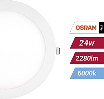 POPP- (Pack x 2 ) downlight led Placa LED redondo,24W luz fria chip OSRAM (6000K, 24W)[Clase de eficiencia energética A+]: Amazon.es: Iluminación