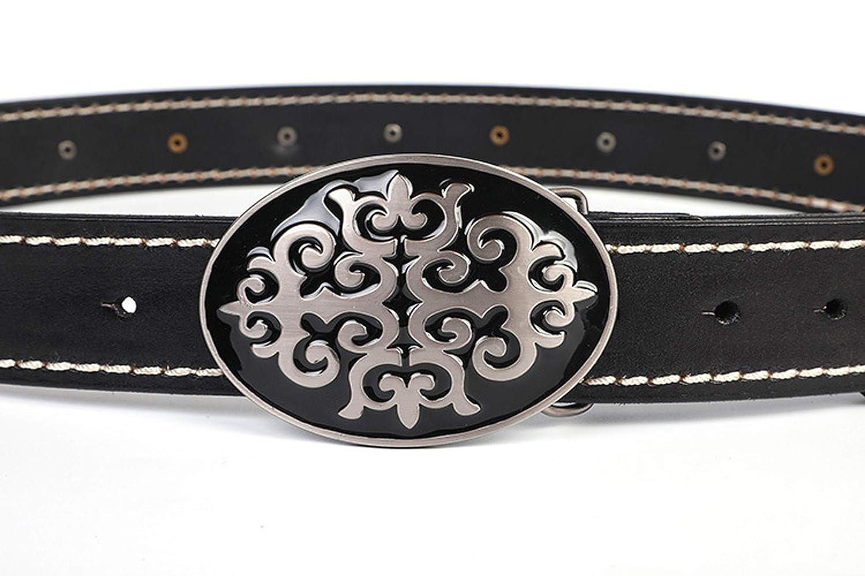 GYFY Punk Style Rock Mens Belt Kazakh National Style Retro Smooth Buckle Leather Belt,A,115cm