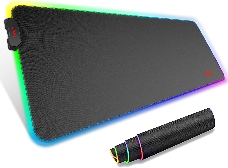 Alfombrilla de Raton Gaming HAVIT RGB 800 * 300 * 4 mm Teclado extendido Extra Grande para Escritorio con Base de Goma Antideslizante para Gamers, PC y Portátil,Negro