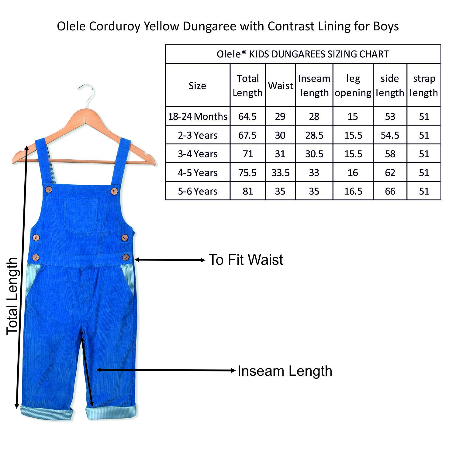 9bbacc73a Olele® Corduroy Dungaree with Contrast Lining for Boys