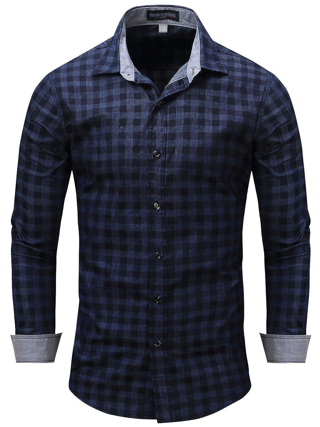 Neleus Mens Long Sleeve Button Down Shirts