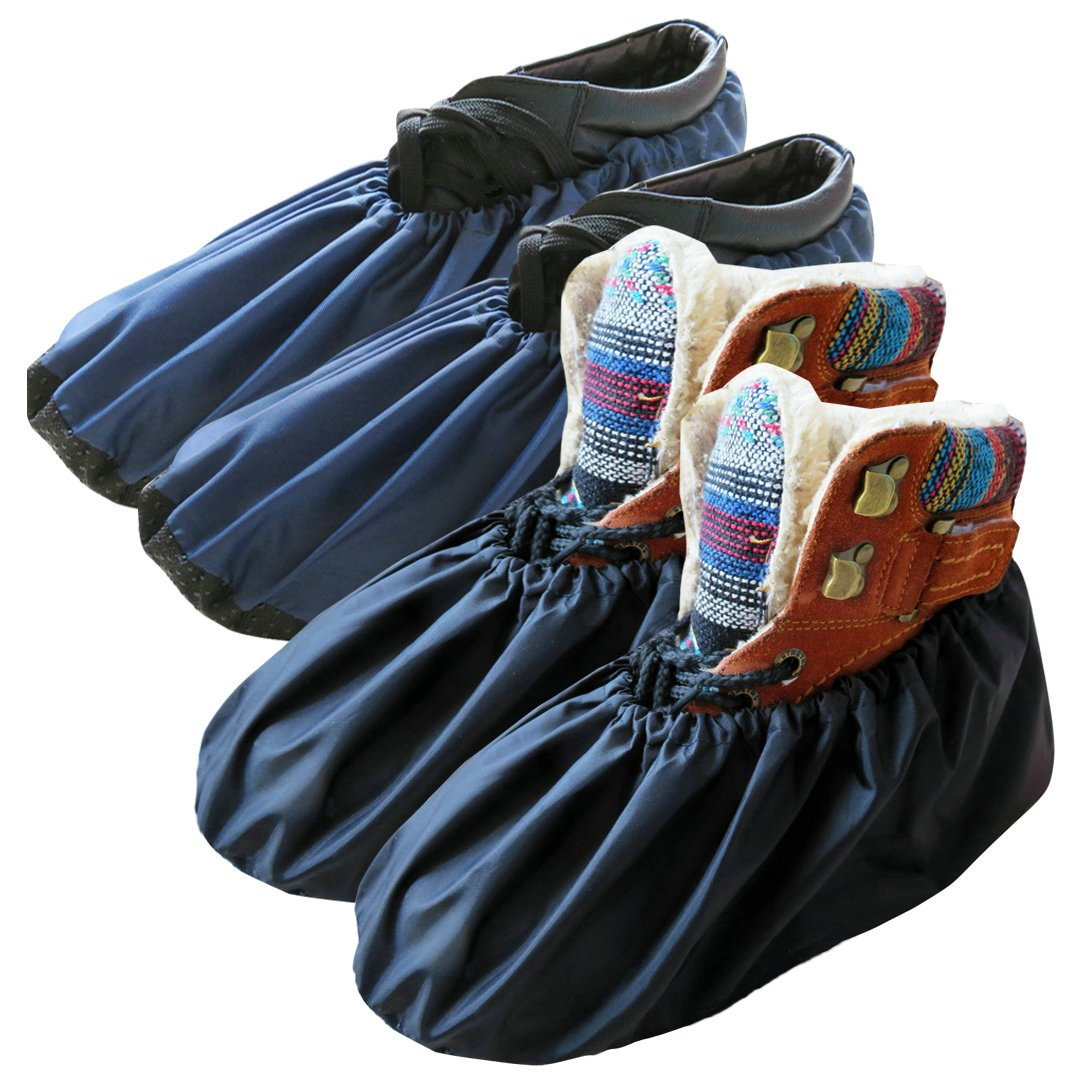 DearyHome Washable Reusable Waterproof Shoe Covers Premium Non Slip Overshoes for Household Contractors and Outdoor Mowing Gardening, X-Large, 2 Pairs