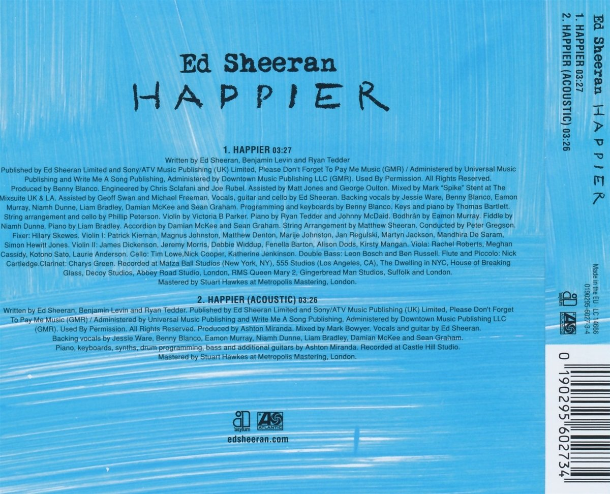 Ed Sheeran Happier Amazon Com Music