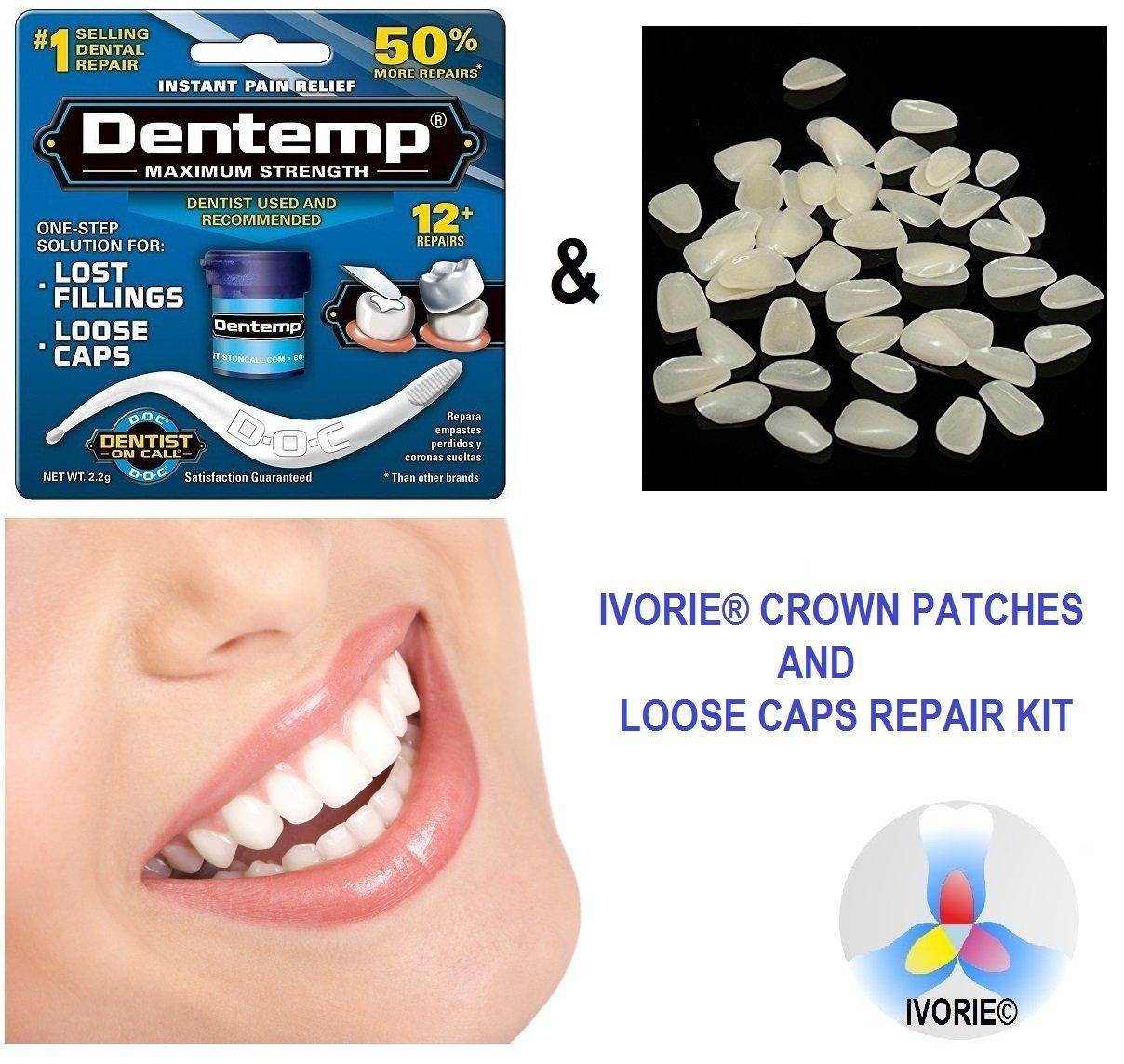 Dental Cosmetic Crown Patch Ultra-Thin Veneers & Dental Adhesive Glue Bond Home Use (Shade A2)