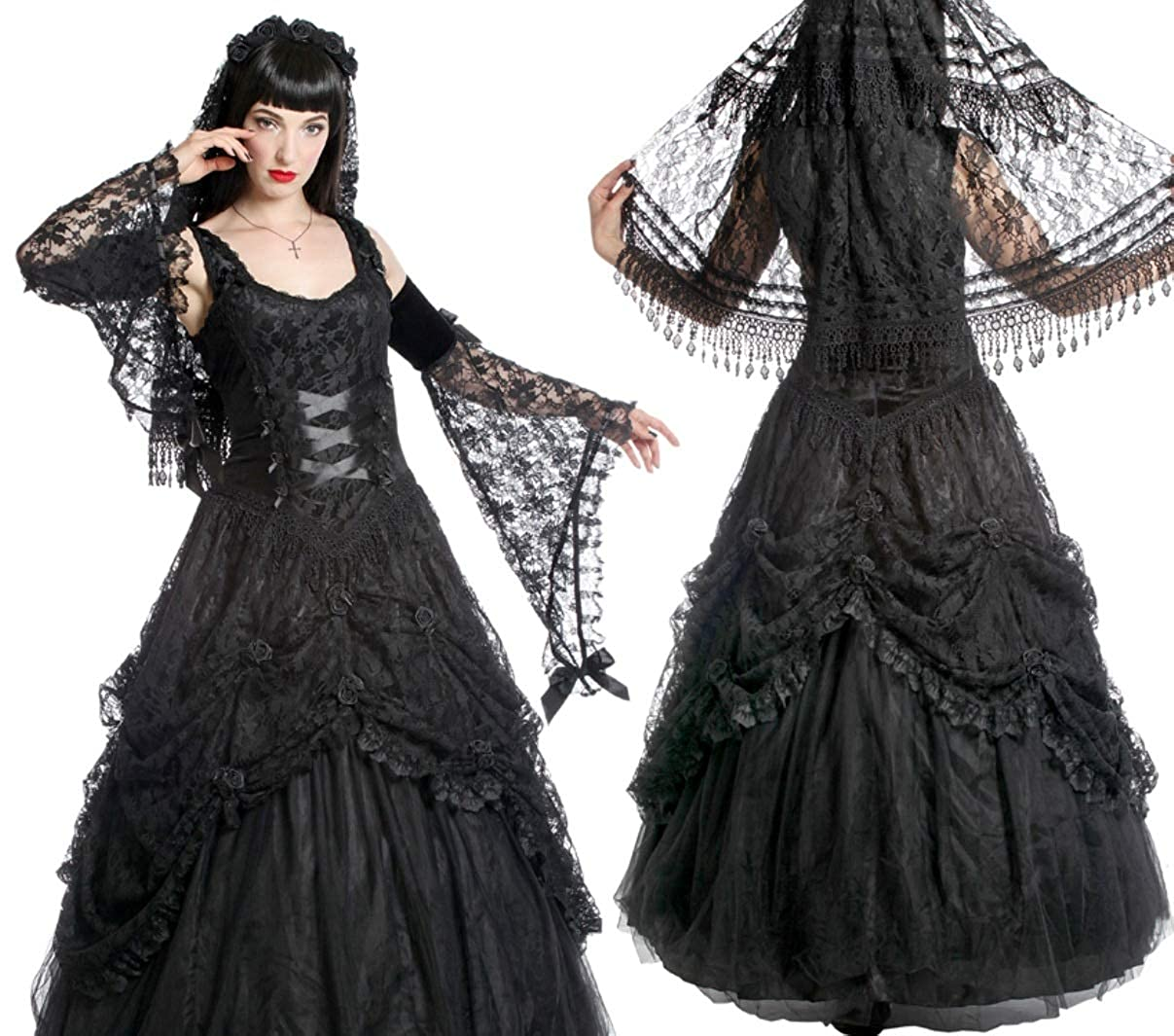 Sinister Gothic Plus Size Black Satin Lace Tulle Rosettes Long ...