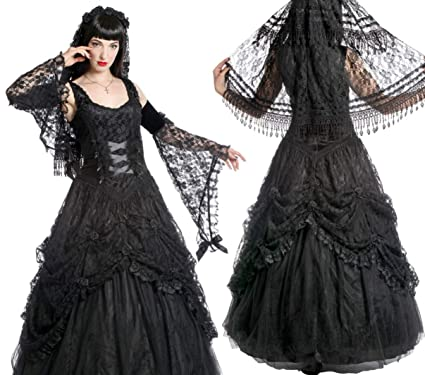 4a3d01e67af Sinister Gothic Plus Size Black Satin Lace Tulle Rosettes Long Wedding Gown  2X (2X)