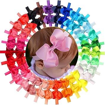Amazon.com: Diademas suaves para bebé, lazos elásticos de ...