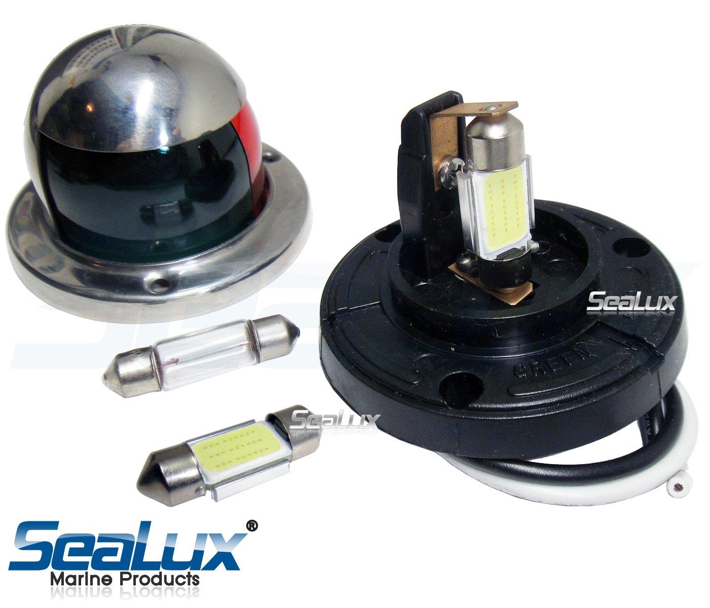 SeaLux Marine 180 deg 31mm Festoon 9 LEDs Cool White Navigation Bulbs for Masthead / Stern Light / Navigation Lights / Anchor Lamp (pair)