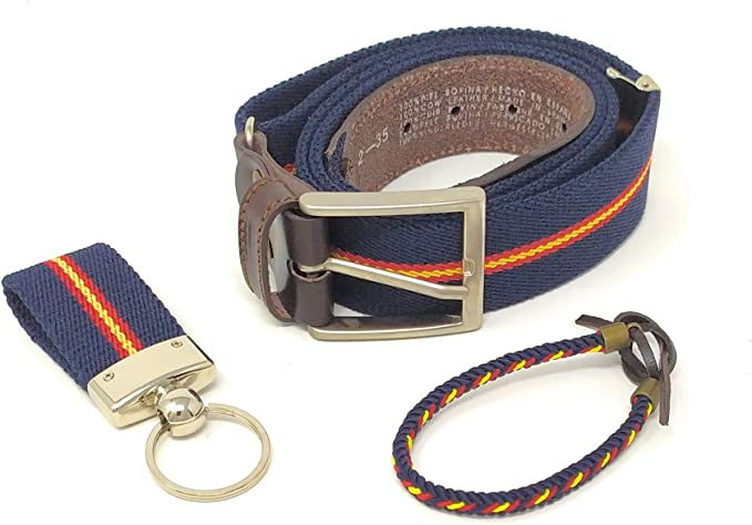 GOS Set Cinturón Hombre Ajustable | Pulsera | Llavero (Color 1): Amazon.es: Ropa y accesorios