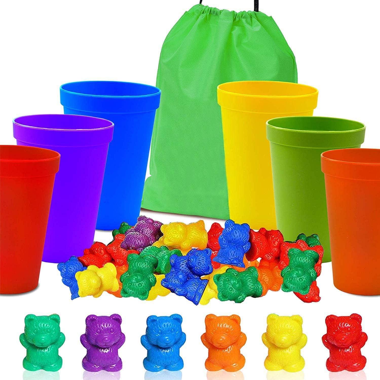Contar Rainbow Bear Color Montessori Copas Clasificación de permutación Cálculo Combinado Juguetes de educación temprana (67 Piezas Set) 60 Osos 6 Copas 1 Bolsa de Almacenamiento