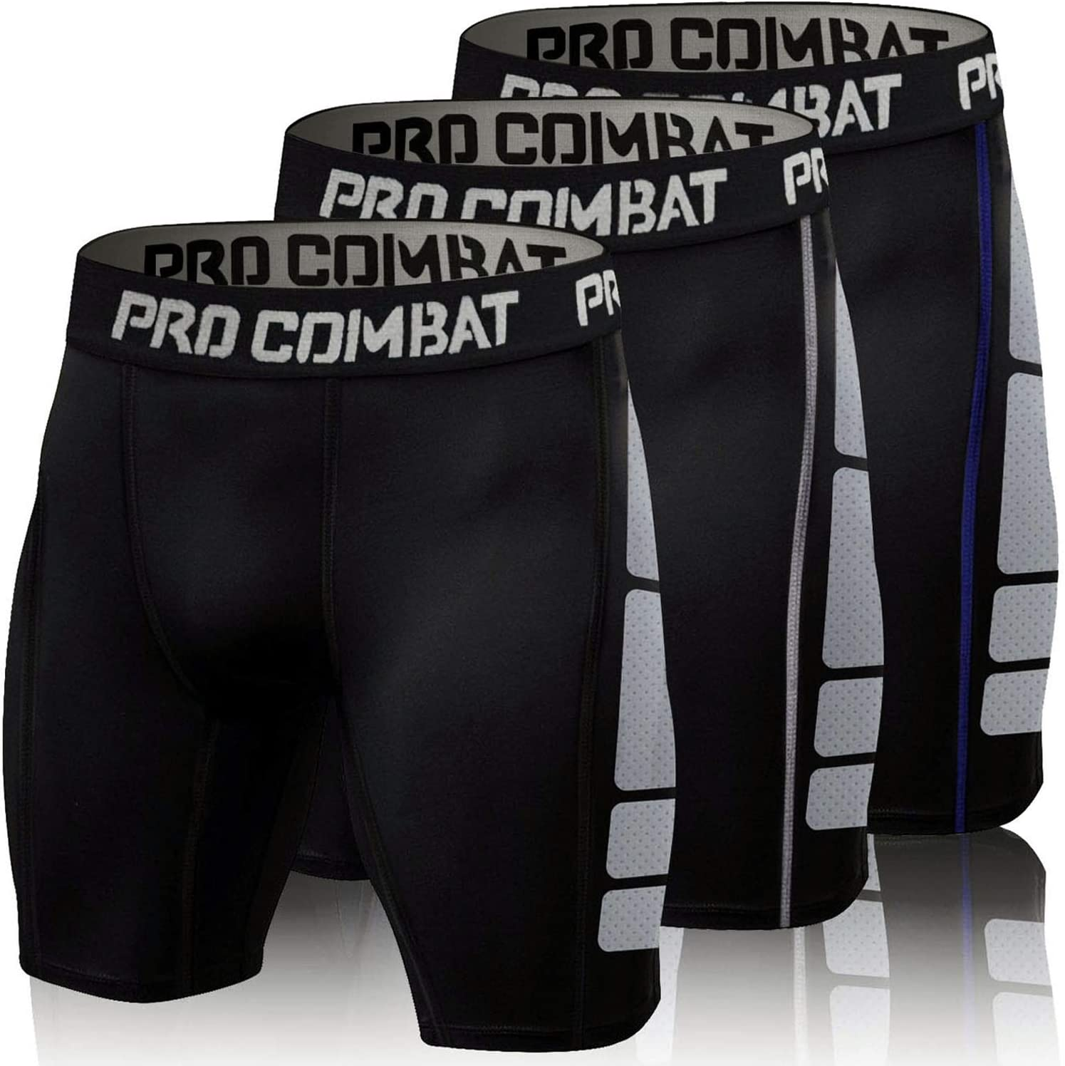 Men's Compression Shorts 3 Pack Quick Dry Sports Tight Shorts Soft Running Pants for Workouts, Training, Gym: Clothing