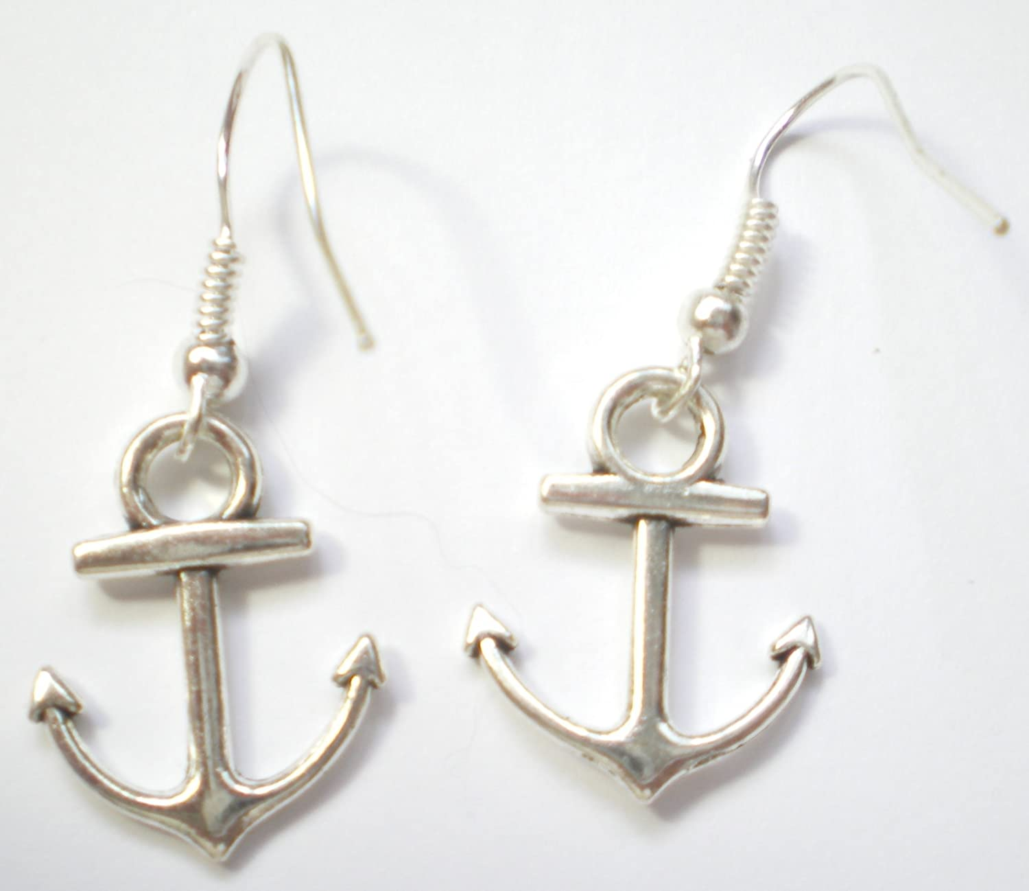 Elegant Fashion Boat Anchor Marine Silver Tone Earring Drop Dangle Fish Hook Hot Pendant Handmade Fashion by Louiselle Collection Bestdealhere SHS27