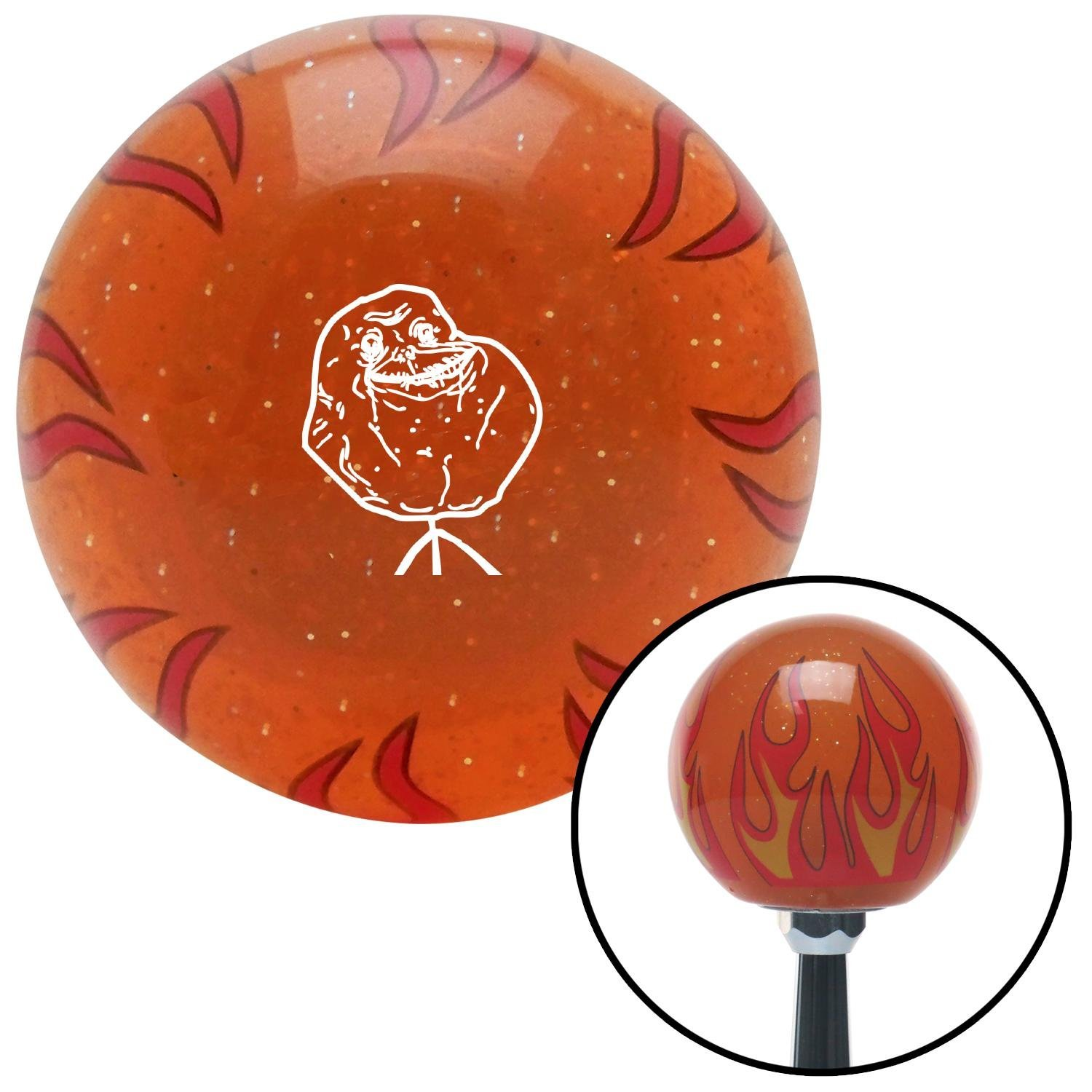 White Forever Alone Orange Flame Metal Flake with M16 x 1.5 Insert American Shifter 298917 Shift Knob