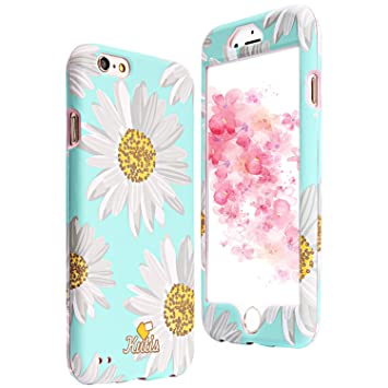 Funda 360 Grados iPhone 6, iPhone 6S Case, ZXK CO Retro Flores PC Duro Plástico Integral Para Ambas Caras Full Body Anti-Shock Anti-rasguños Carcasa ...