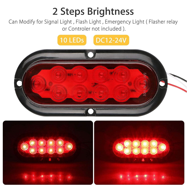 amazoncom linkstyle 2pcs red oval led trailer tail lights 10 leds
