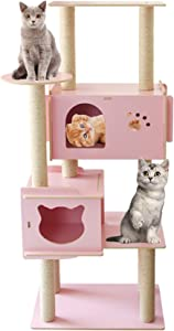 Wooden Cat Tree Condo, Sisal Scratching Posts, Cat Climbing Tower, Kitten Play House Furniture, 2 Spacious Condo, Solid Pine Board