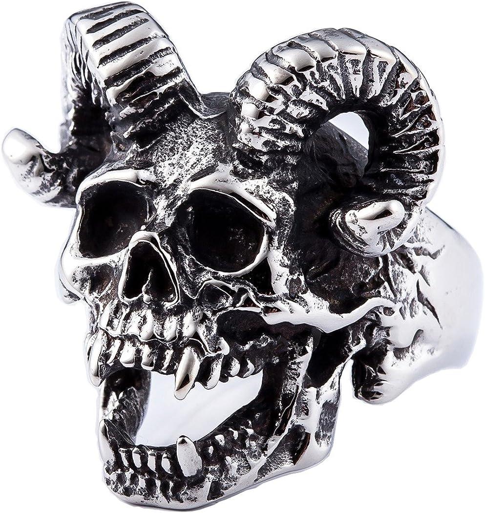 Stainless Steel Brass Knuckles Biker Band Men Ring Skull Shield Antique Silver