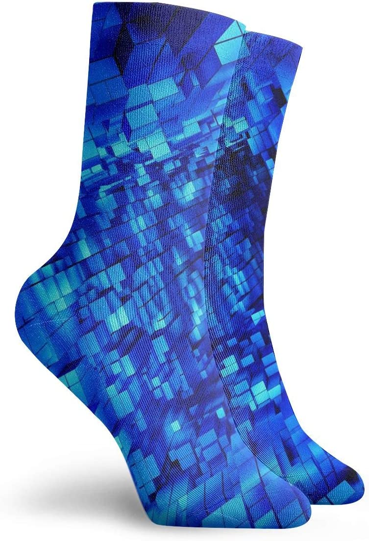 WEEDKEYCAT Cool Blue Form Cube Adult Short Socks Cotton Cute Socks for Mens Womens Yoga Hiking Cycling Running Soccer Sports