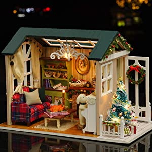 Roeam DIY Christmas Miniature Dollhouse Kit, Realistic Mini 3D Wooden House Room Craft with Furniture LED Lights Children's Day Birthday Gift Christmas Decoration
