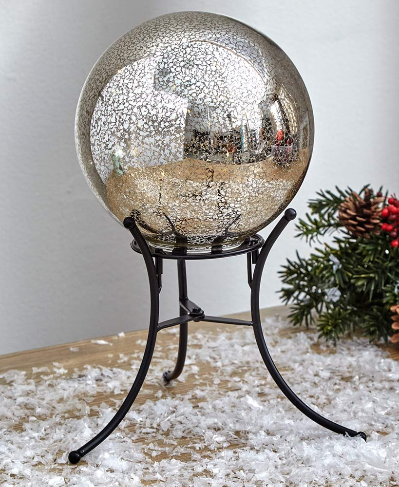 The Lakeside Collection Lighted Gazing Ball - Silver