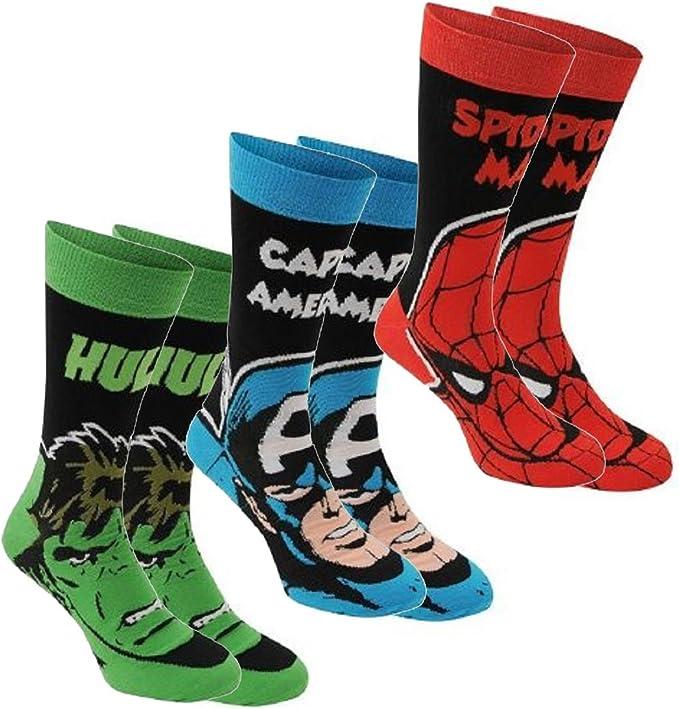 Marvel para hombre 3 unidades calcetines de calidad macho de la marca calcetines de algod/ón el/ástico