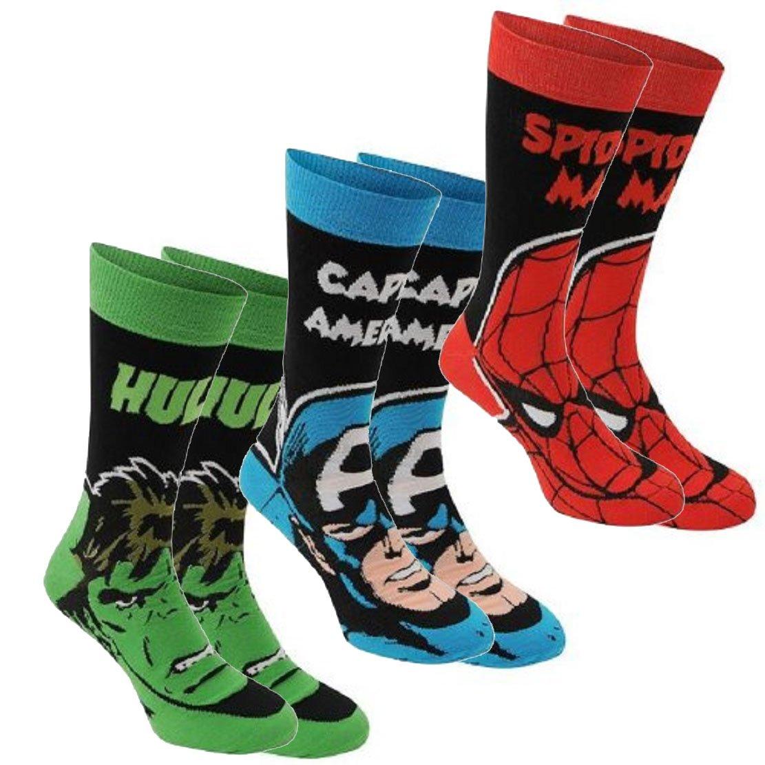 Marvel para hombre, 3 unidades calcetines de calidad macho de la marca calcetines de algodón elástico: Amazon.es: Ropa y accesorios
