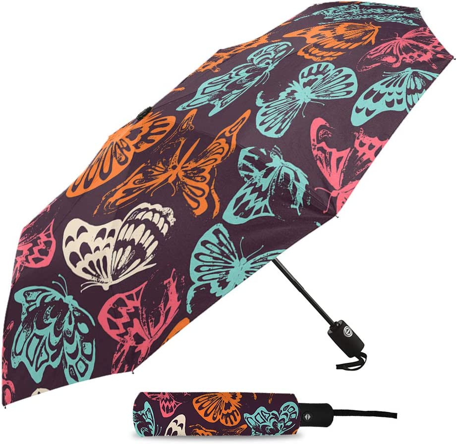 Travel Umbrella Windproof-Colorful Butterfly Hand Painted,Durable Folding Compact Umbrella for Outdoor Rainy Use Auto Open and Close Button