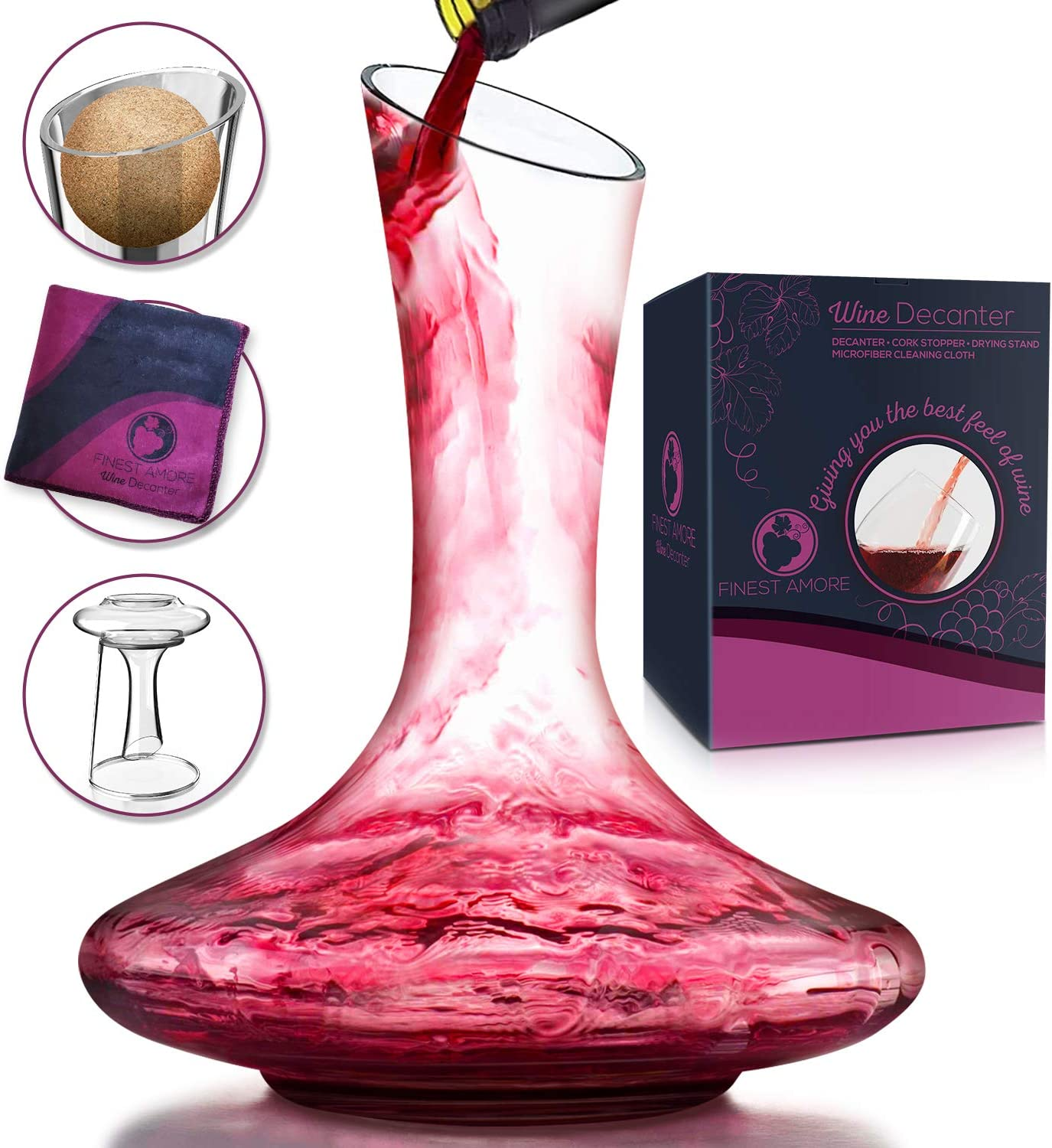 Finest Amore Glass Wine Decanter Set Hand Blown Lead Free Crystal Carafe With Cork Ball Stopper Drying Stand Cleaning Cloth Red Wine Decanter Wine Gift Wine Accessories Wine Decanters Amazon Com