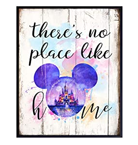 Mickey Mouse Ears Home or Wall Decor for Living Room or Bedroom - Walt Disney Poster Print – Cinderella Castle Room Decoration – Wall Art Gift for Disney World, Disneyland Fans - 8x10 Photo Unframed