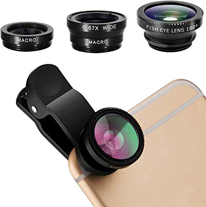 iPhone Lens,3 in 1 Clip On 180 Degree Fish Eye Lens+0.65X Wide Angle+10X Macro Lens,Universal HD Camera Lens Kit for iPhone 7//6s//6s Plus//6//SE//5//5s,Samsung,BlackBerry,Mobile Phone Gold