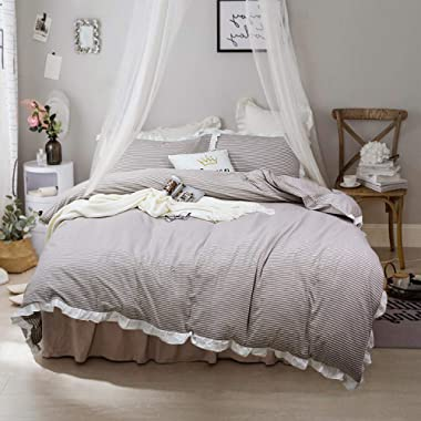 Softta Vintage Ruffle Striped Bedding Set 100% Yarn Dyed Washed Cotton 3 pcs 1 Duvet Cover + 2 Pillowcases White and Beige California King Size