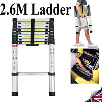 Escalera extensible portátil de 2,6 metros de aluminio telescópica escalera de construcción de 8,5 pies multiusos, alta calidad de carga máxima 330 libras, 9 pasos – Estándares EN131: Amazon.es: Bricolaje y herramientas