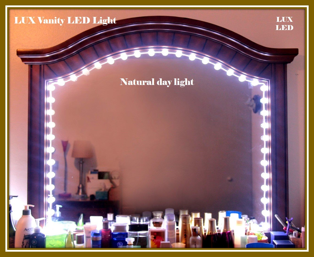 Hollywood Style Vanity Mirror with Lights Makeup Mirror Lights Anti-Glare Luxurious LED Lights for Vanity Mirror w/Touch Dimmer Switch All in One Kit Set (50pcs Bulbs - White 9.5ft)