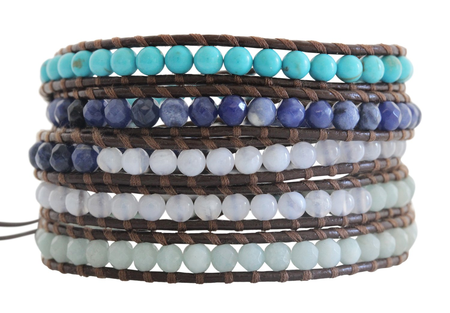 Chan Luu Blue Mix Brown Leather Wrap Bracelet bs-2213