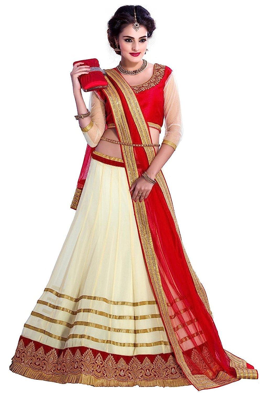Wimberly Fashion Women\'s Net Red Cream Lehenga Choli and Dupatta ...