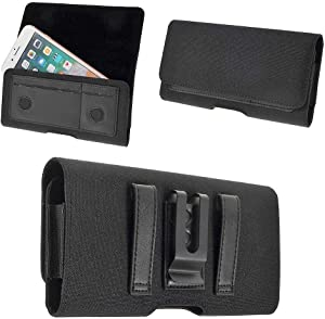 DFV mobile - Nylon Case Metal Belt Clip Horizontal Textile and Leather for ZTE Blade V8 Pro - Black
